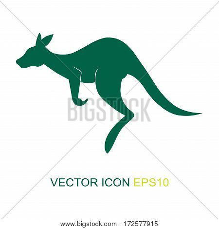 Silhouette of a kangaroo. Logo. The flat icon with the image of a kangaroo. View kangaroos from the side. Vector illustration.