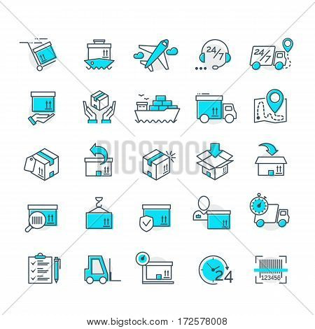 Set of color delivery icons for your app design project. Logistic icons Vector Ilustration