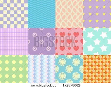 Collection of gentle vector seamless patterns. Cartoon background set
