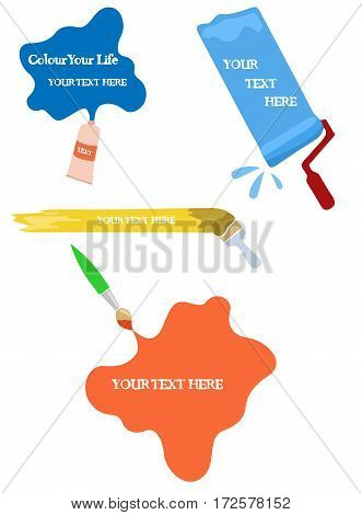 Vector set of brushes and tube of paint. Isolated on white