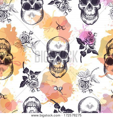 Seamless pattern with human skulls and roses drawn in etching style and translucent orange and pink stains. Creative kitschy backdrop. Vector illustration for wallpaper, wrapping paper, textile print
