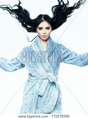 Sexy Girl Posing In Blue Velour Bathrobe