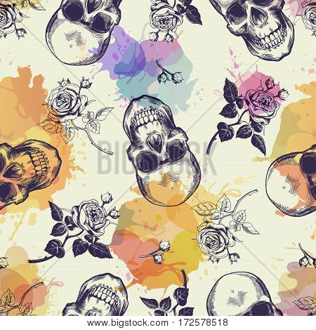 Seamless pattern with skulls and rose flowers drawn in engraving style and translucent colorful blots. Modern and trendy backdrop. Vector illustration for wallpaper, fabric print, poster, flyer