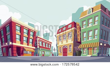 Vector illustration of the historic urban area, banner cartoon style