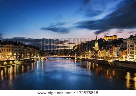 View of Saone river in Lyon city at evening France