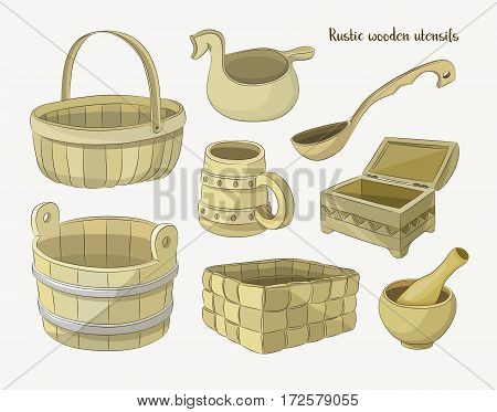 Rustic wooden utensils, colored vector images for design and illustration.