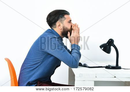 Bearded Man, Brutal Caucasian Tired Hipster With Moustache