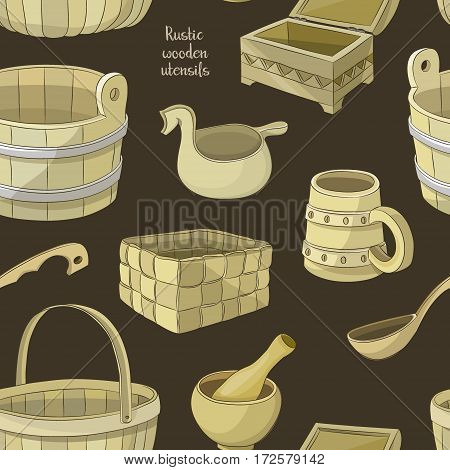 Rustic wooden utensils pattern, colored vector images for design and illustration.
