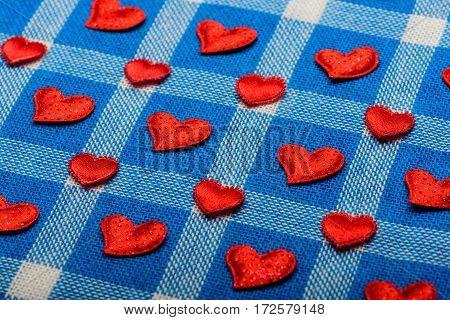 Valentines Love Symbol On Blue Plaid Fabric, Checkered Cloth Background