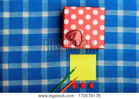 Valentine Present Box With Heart, Pencils And Note Paper