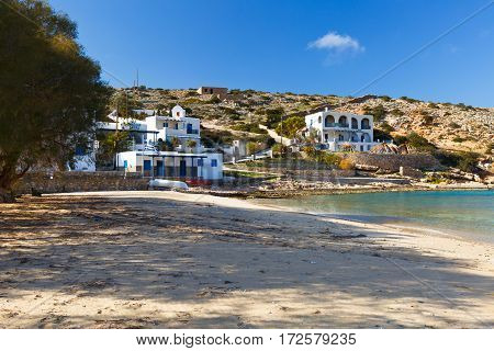 IRAKLIA, GREECE - FEBRUARY 04, 2017: Village on Iraklia island in Lesser Cyclades, Greece on February 04, 2017.