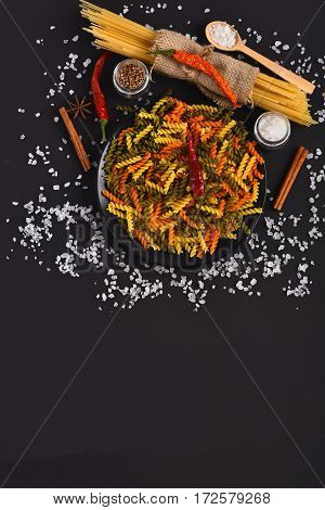 Dried Colorful Italian Pasta With Salt Crystals