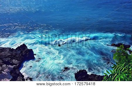 Sea wave over stones. Black rocks beach with high tide. Sea landscape digital illustration. Bright blue seawater with waves and foam. Tropical holiday and travel image. Exotic island paradise sea view