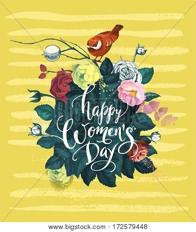 Happy Women's Day hand lettering against background with bouquet of semi-colored rose flowers, red bird sitting on top of it and yellow smears. Spring holiday. Vector illustration in retro style