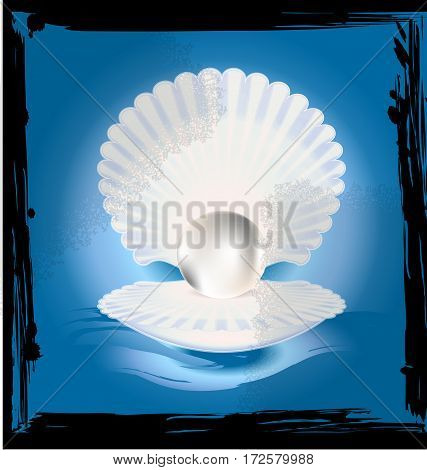 black background, blue abstract and the large white open shell with the big light pearl inside
