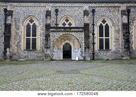 WINCHESTER, UK - FEBRUARY 5, 2017:  The entrance to the Great Hall