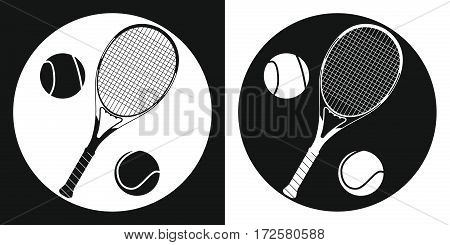 Tennis racquet and tennis ball icon. Silhouette tennis racquet and tennis ball on a black and white background. Sports Equipment. Vector Illustration