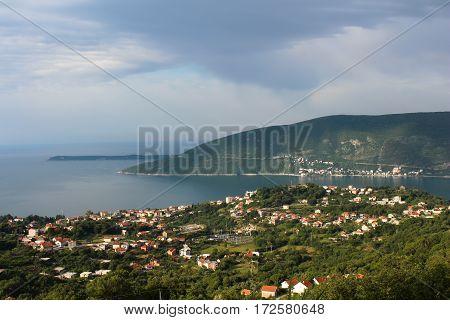 Clouds over Herceg Novi. Thunderstorm over the sea. Montenegro