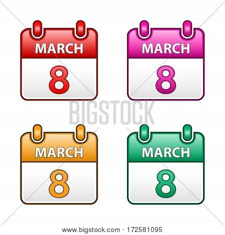 March 8 Vector flat calendar icon set Women's day color illustration.