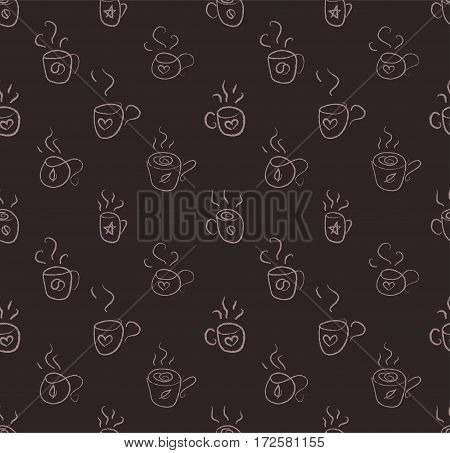 Doodle cups. Vector background - Stock Illustration
