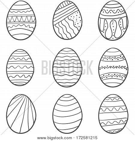 Easter egg set hand draw vector art
