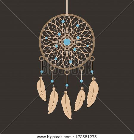 Dream catcher. Ethno style. On brown background