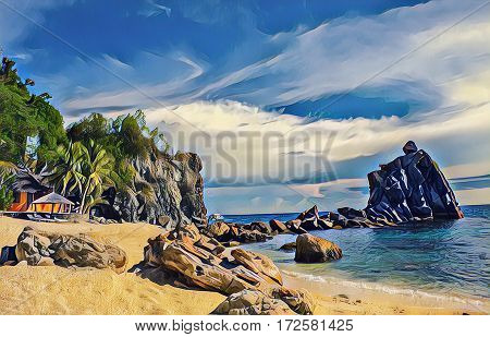 Tropical beach with stones and rocks. Sand beach view with cloudy sky. Nature of tropical island. Exotic seaside digital illustration. Still sea water and sunny beach. Relaxing seascape image