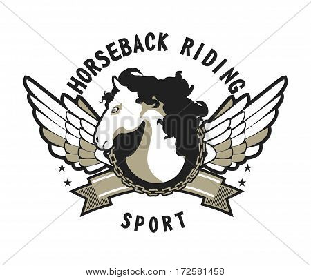 vector sport emblem for the title in the team competition winged horse isolated black and white