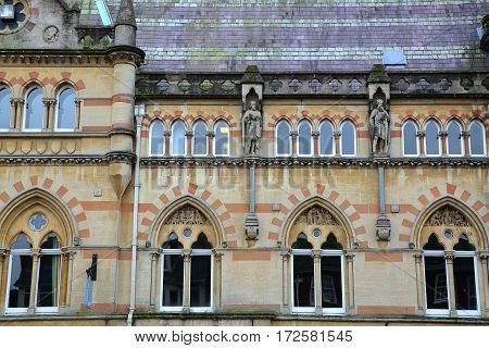 WINCHESTER, UK: The Guildhall with details of the exterior architecture
