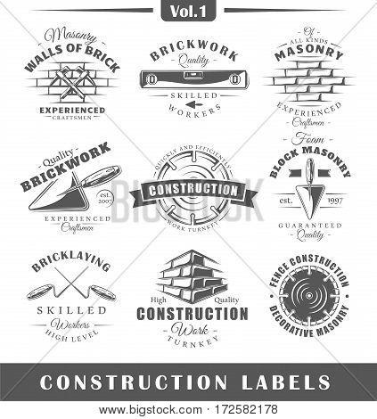 Set of vintage construction labels. Vol.1. Posters stamps banners and design elements. Vector illustration