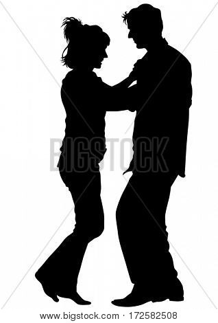Dancers couples on theatrical stage on white background