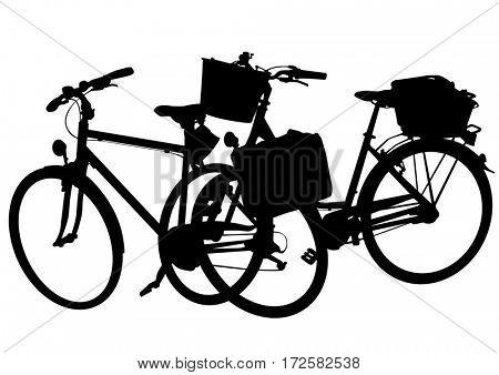 Bikes on white background
