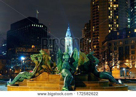 Philadelphia City Hall and statue at night