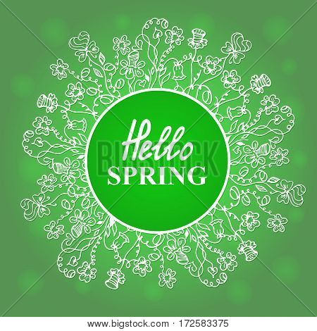 Hello Spring. Flower frame. Concept design for a seasonal sale, greeting cards, stickers, invitations
