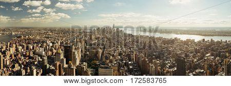 New York City downtown skyline panoramic view.
