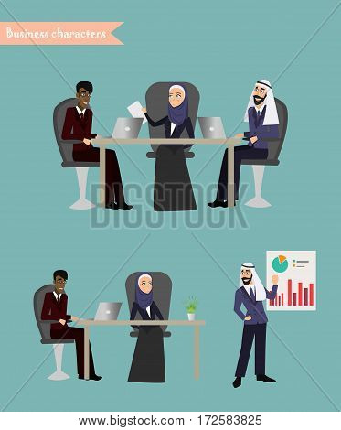 Arab Business People Meeting Discussing Office Desk Muslim Arabic Businesspeople Working Flat Vector Illustration