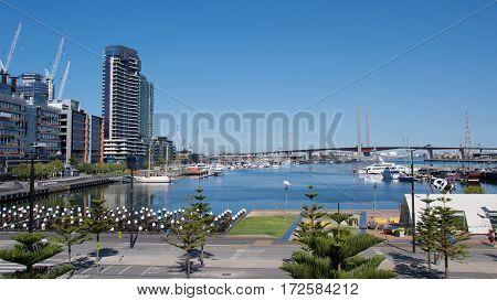 Bolte Bridge seen from Docklands in Victoria Harbor in Melbourne, Australia
