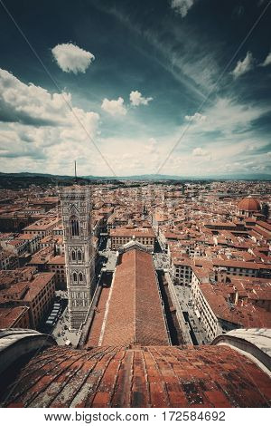Bell Tower and city skyline viewed from top of dome. Duomo Santa Maria Del Fiore in Florence Italy
