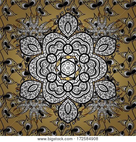 Floral ornament brocade textile pattern glass metal with floral pattern on yellow background with golden elements. Classic vector golden.
