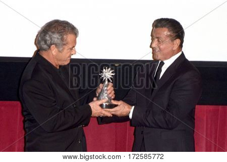 LOS ANGELES - FEB 19:  Mel Gibson, Sylvester Stallone at the Los Angeles Italia Film Festival at the TCL Chinese 6 Theaters on February 19, 2017 in Los Angeles, CA