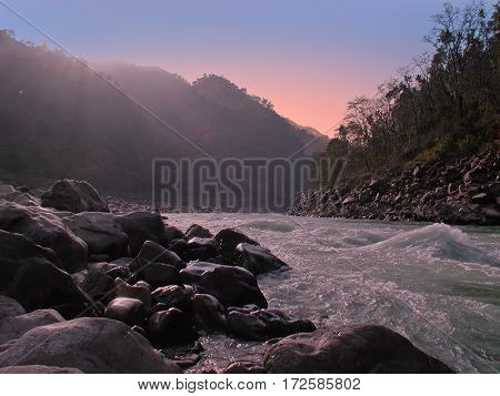 The river Ganga in India at sunset