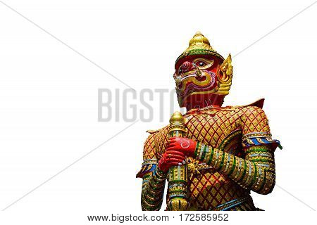 The Big Giant guardian statue isolated on white background in Thai TempleThailand