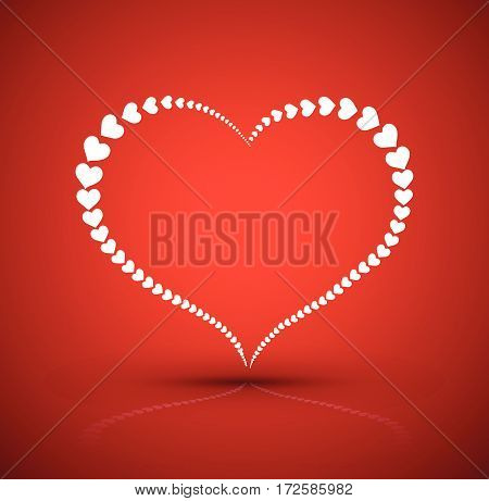 Big heart by heart border on red. Vector illustration for love concept valentine's day and wedding card.