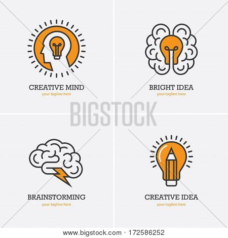 Four icons with human head brain and light bulb for creative idea thinking brainstorming logo concept