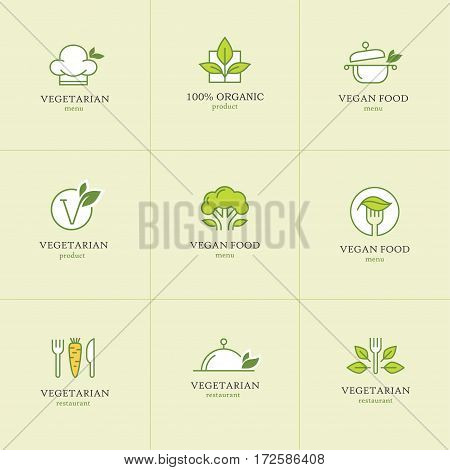 Vegan and vegetarian food linear logo and icon set for restaurant menu or recipes website