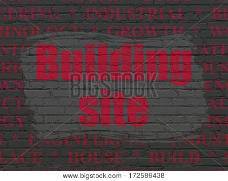 Construction concept: Painted red text Building Site on Black Brick wall background with  Tag Cloud