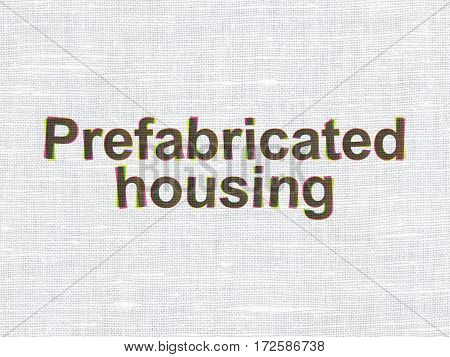 Constructing concept: CMYK Prefabricated Housing on linen fabric texture background