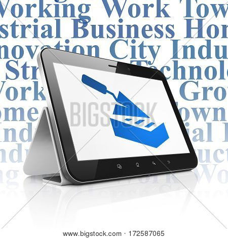 Building construction concept: Tablet Computer with  blue Brick Wall icon on display,  Tag Cloud background, 3D rendering