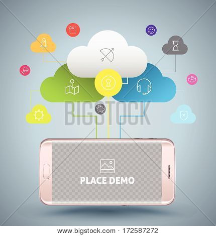 Smartphone with cloud computing concept. Vector illustration for business cloud computing.