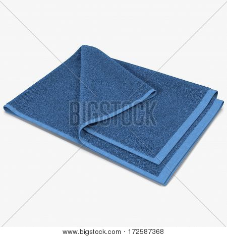 Folded blue bath towel isolated on white background. 3D illustration